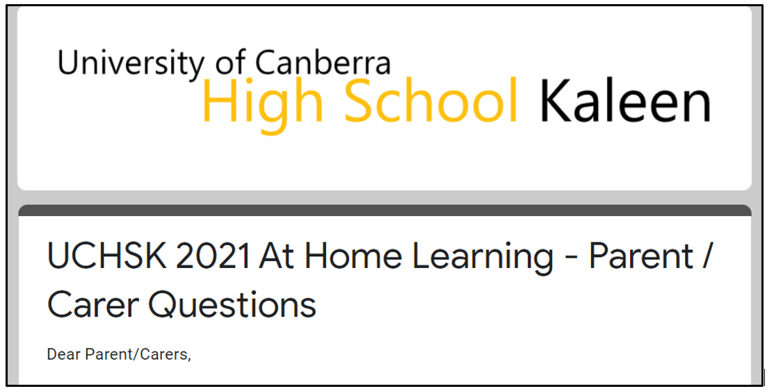 At Home Learning Questionnaire