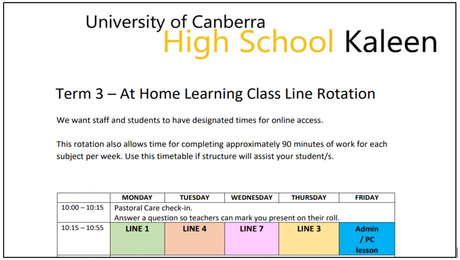 Class line rotation term 3 2021