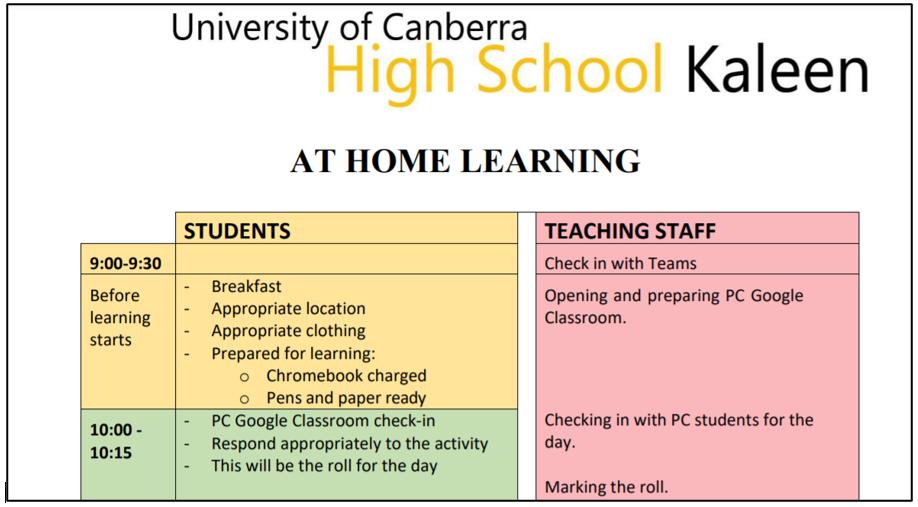 Student teacher schedule term 3